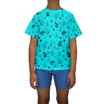 POTS Mermaid Print In Turquoise Kid s Short Sleeve Swimwear
