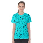 POTS Mermaid Print In Turquoise Women s Cotton Tee