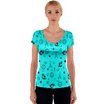 POTS Mermaid Print In Turquoise Women s V-Neck Cap Sleeve Top