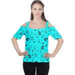 POTS Mermaid Print In Turquoise Women s Cutout Shoulder Tee