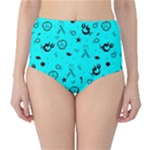 POTS Mermaid Print In Turquoise High-Waist Bikini Bottoms
