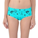 POTS Mermaid Print In Turquoise Mid-Waist Bikini Bottoms