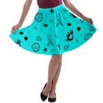 POTS Mermaid Print In Turquoise A-line Skater Skirt