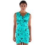 POTS Mermaid Print In Turquoise Wrap Front Bodycon Dress