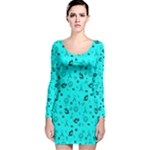 POTS Mermaid Print In Turquoise Long Sleeve Velvet Bodycon Dress