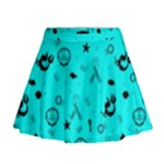 POTS Mermaid Print In Turquoise Mini Flare Skirt