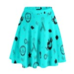 POTS Mermaid Print In Turquoise High Waist Skirt