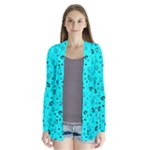 POTS Mermaid Print In Turquoise Drape Collar Cardigan