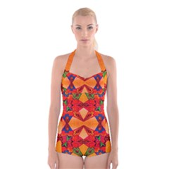 Zazar Queen Boyleg Halter Swimsuit  by MRTACPANS