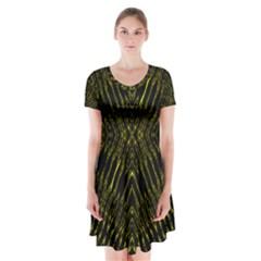 Yyyyyyyyyry Short Sleeve V Neck Flare Dress by MRTACPANS