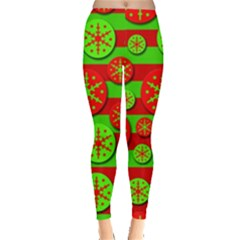 Snowflake Red And Green Pattern Leggings  by Valentinaart