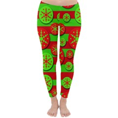 Snowflake Red And Green Pattern Winter Leggings  by Valentinaart