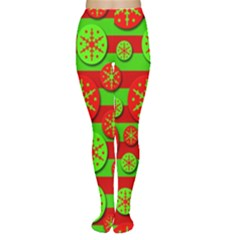 Snowflake Red And Green Pattern Women s Tights by Valentinaart