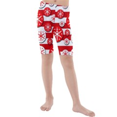 Snowflake Red And White Pattern Kid s Mid Length Swim Shorts by Valentinaart