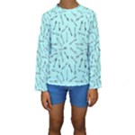 Spoonie Strong Print in Light Turquiose Kid s Long Sleeve Swimwear
