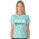 Spoonie Strong Print in Light Turquiose Women s V-Neck Sport Mesh Tee