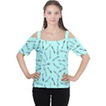 Spoonie Strong Print in Light Turquiose Women s Cutout Shoulder Tee