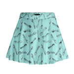 Spoonie Strong Print in Light Turquiose Mini Flare Skirt