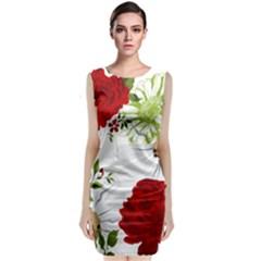 Red Roses Classic Sleeveless Midi Dress by fleurs