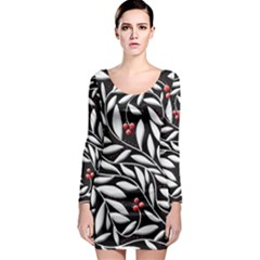 Black, Red, And White Floral Pattern Long Sleeve Bodycon Dress by Valentinaart