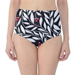 Black, Red, And White Floral Pattern High Waist Bikini Bottoms by Valentinaart