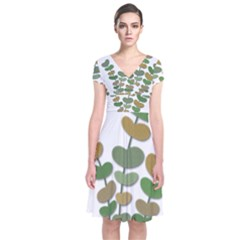 Green Decorative Plant Short Sleeve Front Wrap Dress by Valentinaart