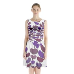Purple Decorative Plant Sleeveless Chiffon Waist Tie Dress by Valentinaart