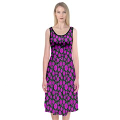 Black And Pink Floral Midi Sleeveless Dress by Contest1673627