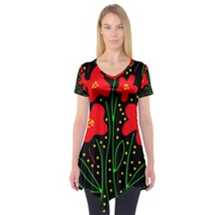 Red Flowers Short Sleeve Tunic  by Valentinaart