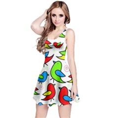 Colorful Cute Birds Pattern Reversible Sleeveless Dress