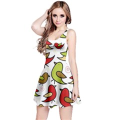 Decorative Birds Pattern Reversible Sleeveless Dress