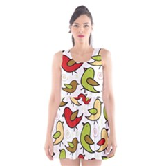 Decorative Birds Pattern Scoop Neck Skater Dress by Valentinaart
