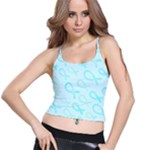 Turquoise Watercolor Awareness Ribbons Spaghetti Strap Bra Top