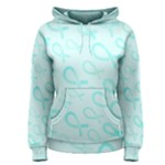 Turquoise Watercolor Awareness Ribbons Women s Pullover Hoodie