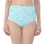 Turquoise Watercolor Awareness Ribbons High-Waist Bikini Bottoms