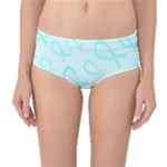 Turquoise Watercolor Awareness Ribbons Mid-Waist Bikini Bottoms