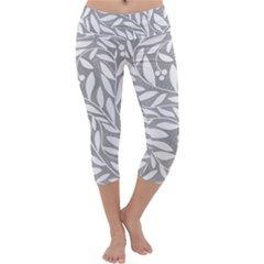 Gray And White Floral Pattern Capri Yoga Leggings by Valentinaart