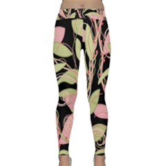 Pink And Ocher Ivy Yoga Leggings  by Valentinaart