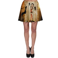 Halloween, Cute Girl With Pumpkin And Spiders Skater Skirt by FantasyWorld7