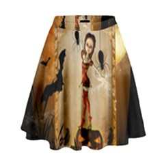 Halloween, Cute Girl With Pumpkin And Spiders High Waist Skirt by FantasyWorld7