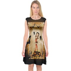 Halloween, Cute Girl With Pumpkin And Spiders Capsleeve Midi Dress by FantasyWorld7