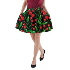 Red Christmas Berries A Line Pocket Skirt by Valentinaart