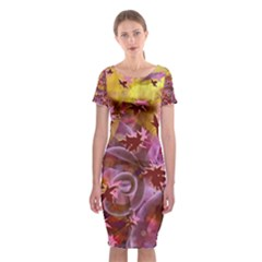 Falling Autumn Leaves Classic Short Sleeve Midi Dress by Contest2489503