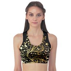 Decorative Starry Christmas Tree Black Gold Elegant Stylish Chic Golden Stars Sports Bra by yoursparklingshop
