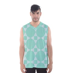Mint Color Star   Triangle Pattern Men s Basketball Tank Top by picsaspassion
