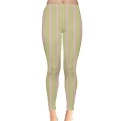 Summer Sand Color Pink Stripes Leggings  by picsaspassion