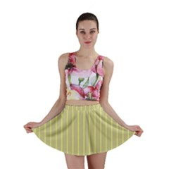 Summer Sand Color Yellow Stripes Pattern Mini Skirt by picsaspassion