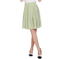 Summer Sand Color Blue Stripes Pattern A Line Skirt by picsaspassion