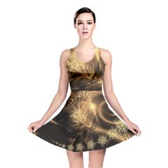 Golden Feather And Ball Decoration Reversible Skater Dress by picsaspassion