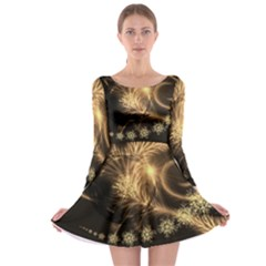 Golden Feather And Ball Decoration Long Sleeve Skater Dress by picsaspassion